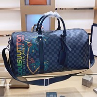LV Louis vuitton Fashion New Tartan Leather Luggage Shopping Leisure Handbag Shoulder Bag Crossbody Bag Black