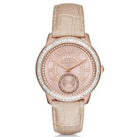 Madelyn Pavé Rose Gold-Tone and Leather Watch | Michael Kors
