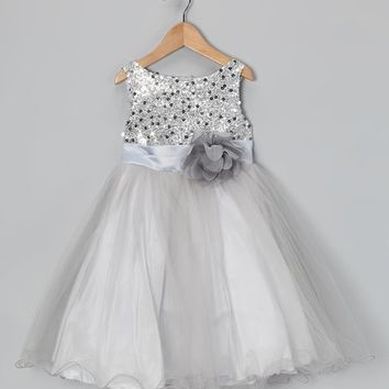 Silver Sequin Tulle A-Line Dress - Infant, Toddler & Girls
