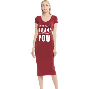 It's Not Me It's You - Long Dress Short Sleeves Close-fitting Above-Calf