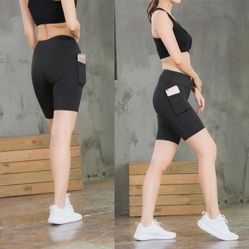 Vertvie 2018 Solid Women 's Running Tights Shorts With Pocket Fitness Gym Yoga Sports Clothing Shorts Basketball Jogging Trunks