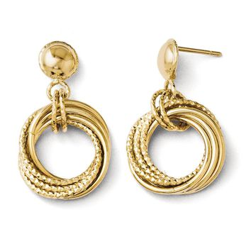 Italian Diamond Cut Circle Post Dangle Earrings in 14k Yellow Gold