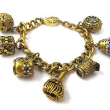 Antique Chinese Charm Bracelet, Etched Engraved Curb Link Chain, Blue Enamel Gold Charms, Vintage Chinese Export Jewelry