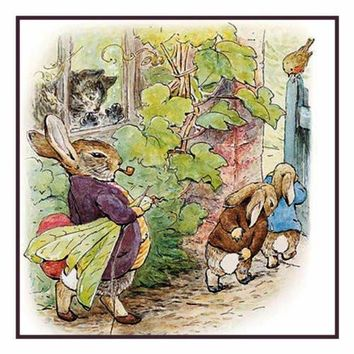 Mr Rabbit Marches Peter and Benjamin Out of Garden inspired by Beatrix Potter Counted Cross Stitch or Counted Needlepoint Pattern