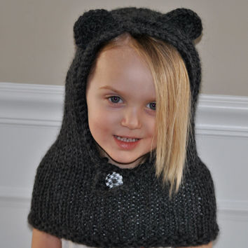 Hand Knit Bear Hoodie Cowl Pull Over 2T - 4T Size OOAK Gift