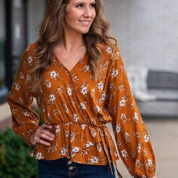 She's A Wild Flower Faux Wrap Top : Burnt Orange