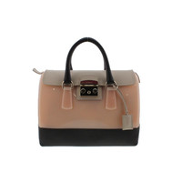 Furla Womens Leather Colorblock Satchel Handbag