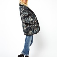 ASOS Limited Edition Chunky Knit Coat With PU Trims