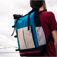 Large Roll-top Backpack, laptop backpack, grey, dark turquoise & black - made to order