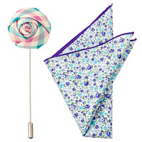 Turquoise and Pink Gingham Flower Pin Pak #1