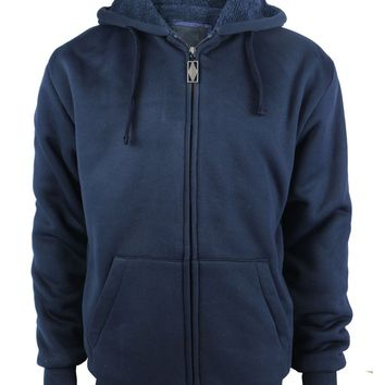 Boys Full Zip up Fleece Hoodie Sweatshirt - Navy - CASE OF 12