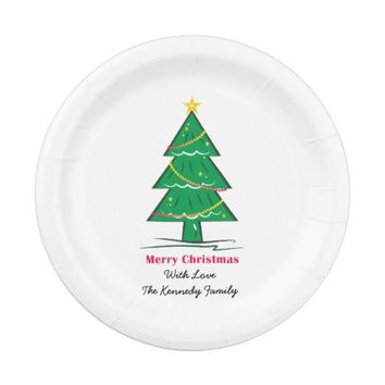 Christmas Tree Personalized Family Christmas 7 Inch Paper Plate
