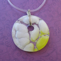Yellow White Necklace, Fused Glass Jewelry, Handcrafted Jewelry, Statement Jewelry - Melita - 4279 -3