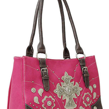 Cross Leather Designer Fashion Bling Western Stitch Rhinestone Stud Flower Trendy Purse Handbag Pink Brown