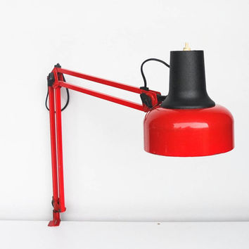 Vintage Angle Poise Desk Lamp / Clamp on / Swing Arm / Architect Light / 80's Yugoslavia  / Industrial Lighting /  Red & Black