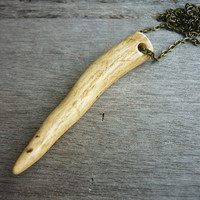 Deer Antler Necklace  extra long brass chain n8 by AstralEYE