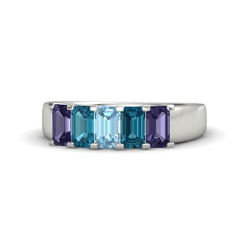 Emerald-Cut Aquamarine 14K White Gold Ring with London Blue Topaz & Iolite