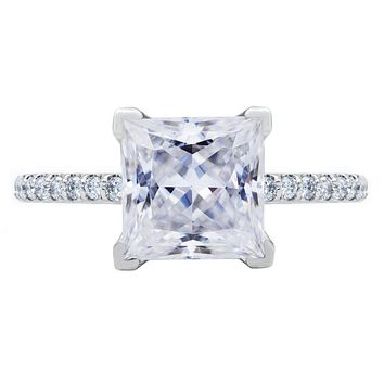 Princess Moissanite 4 Prongs Diamond Accent Ice Solitaire Ring