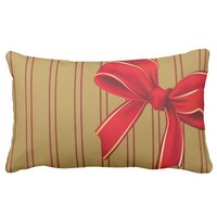 Xmas Palette: Gold w/ Red Bow Pillow