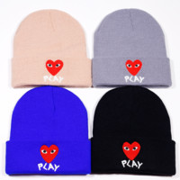 Comme Des Garcons PLAY Beanie Hats Elastic Rib Knit Beanie Hats