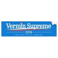 Vermin Supreme 2016, Free Ponies for All Americans Bumper Sticker