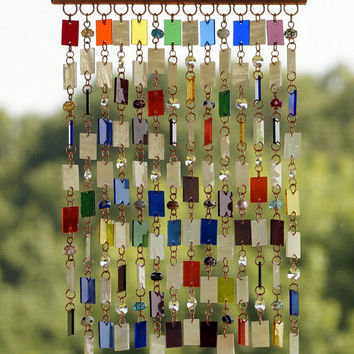 Stained Glass - Colored Glass - Wind Chimes - Sun Catcher - OOAK - Bohemian Rainbow