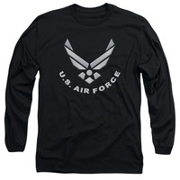 AIR FORCE/LOGO-L/S ADULT 18/1-BLACK-MD