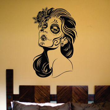 Day of the Dead Woman Skull Wall Vinyl Decal Sticker Art Graphic Sticker Sugar Skull Sugarskull