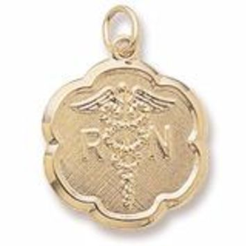 Registered Nurse Charm In Yellow Gold