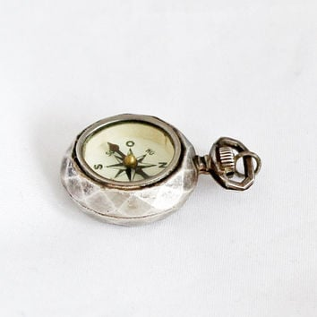 Vintage French Compass Fob in Pocket Watch Shape Pendant