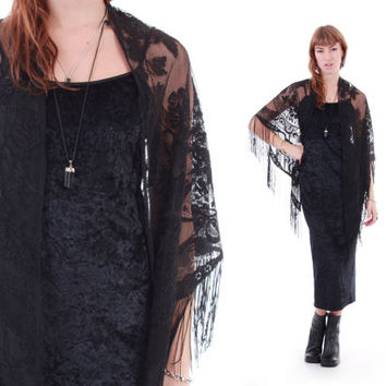 Black Lace Fringe Shawl Scarf Cape Boho Witch Goth Floral Sheer Outerwear 70s 90s Vintage Clothing Womens One Size Fits All OS