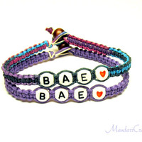 Bracelets for Couples or Best Friends, Bae, Light Purple and Purple Haze Hemp Jewelry, Made to Order