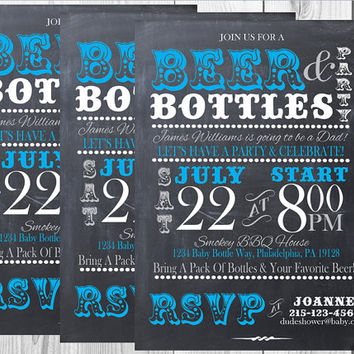 Beer & Bottles Dad Baby Shower Invitations