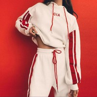 Women Pantsuit splicing letter printing hooded fashion suit pullover Two piece