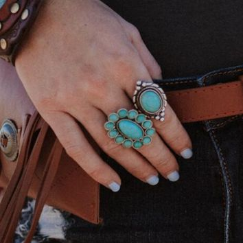 With The Hippies Turquoise Ring