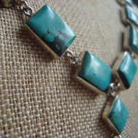"stunning sterling silver turquoise ""y"" necklace"