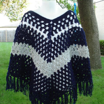 Crochet Poncho for Girl Poncho Shawl Boho Retro Hippie Style