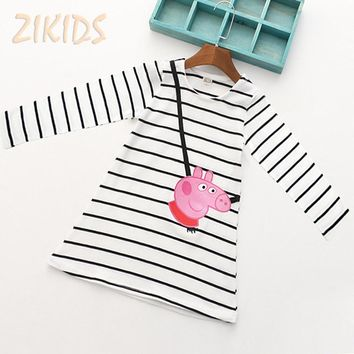 Cartoon Lovely Pink Pig Baby Girl Dress Long Sleeve Striped Kids Dresses Cotton Children Clothing Hot Sale 2017