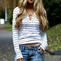 Black and White Striped Lace Up Long Sleeve Shirt