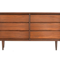 ON SALE - Mid Century Modern Walnut Dresser by Bassett Furniture - 1960s Vintage Walnut Six Drawer Dresser - Refinished