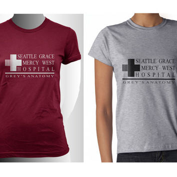 Seattle Grace Mercy West Hospital Grey's Anatomy printed on Women tee