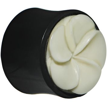 "9/16"" Organic Buffalo Horn and Bone Flower Hand Carved Plug"