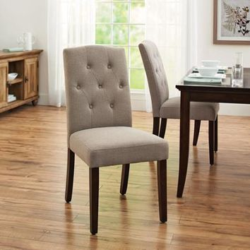 Better Homes and Gardens Parsons Tufted Dining Chair, Set of 2, Taupe - Walmart.com