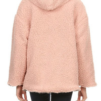 Teddy Plush Furry Jacket in Reversible Blush/Gray