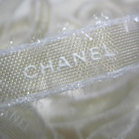 "Authentic CHANEL Gold Ribbon with White Logo Letters 1/2"" - 1 YARD / DIY Headband Hairbow / Gift Wrapping"