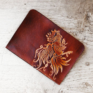 Rooster Passport Cover - Genuine Leather