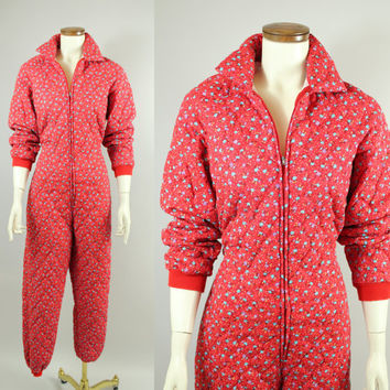 SALE - 80s - Red Floral - Zip Up - Quilted - Onesuit - Pantsuit - Pajamas - Nightie
