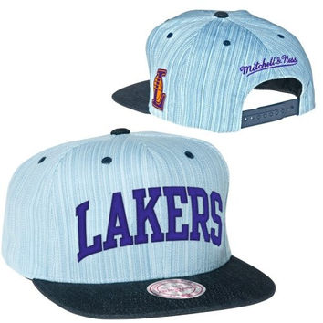Mitchell & Ness Los Angeles Lakers Striped Denim Arch Adjustable Snapback Hat Cap