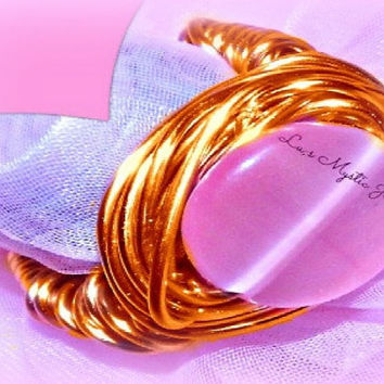 Cateye Pink Ring ,Wrapped Copper Wire , Woman ,Direct Checkout ,Jewelry