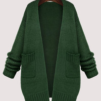 Long Sleeve Knitted Cardigan with Double Pockets